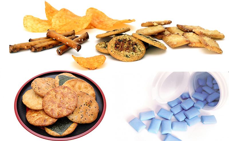 おせんべい、クラッカー、スナック菓子、キシリトール入りのガム