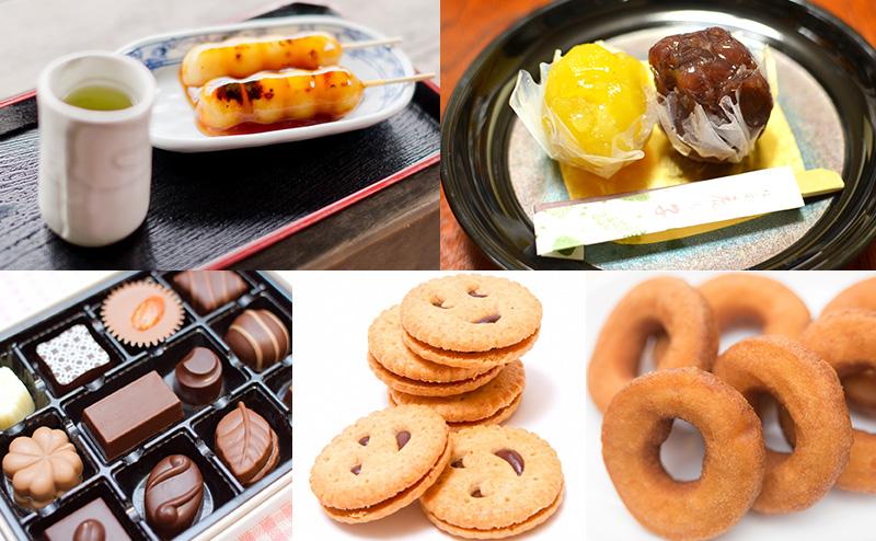 お団子、甘い和菓子、クッキー、チョコレート、ドーナツ
