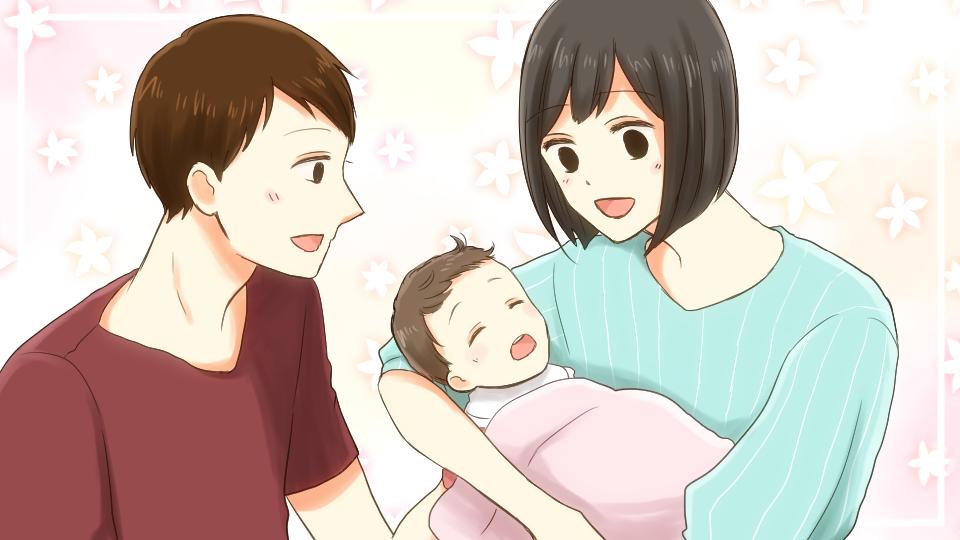 歯の生えた子どもと両親が笑顔のイメージ画像