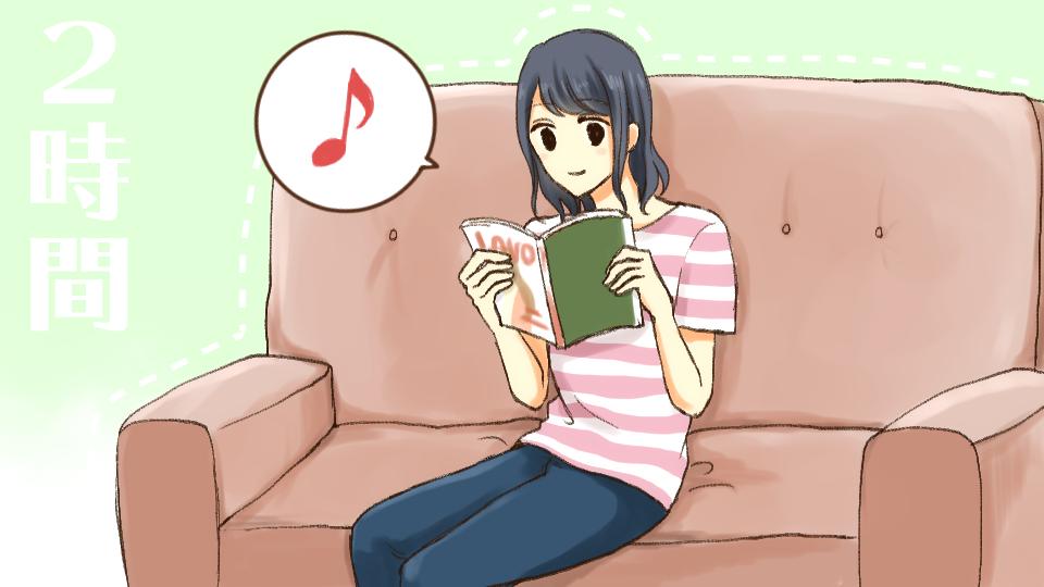 漂白する間雑誌を読んで時間を過ごす女の子